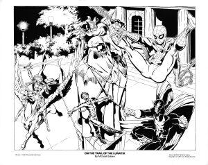 Ilustração de Michael Golden do Homem-Aranha com os Defensores publicado no Marvel Team-Up Portfolio em 1981.