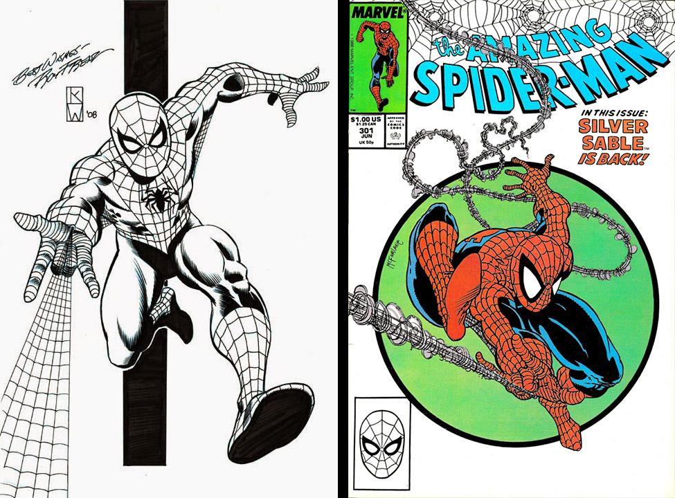 Artes de Ron Frenz e Todd McFarlane comparando suas diferentes formas de representar as teias disparadas pelo Homem-Aranha